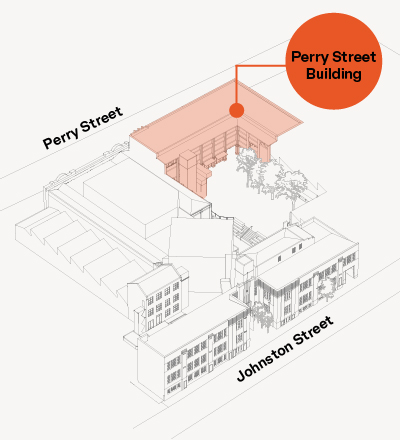 A diagram showing the layout of Collingwood Yards, identifying the Perry Street Building at the south and southw est boundary of the site